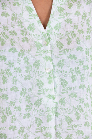 Womens Linen Flared Dress: FLAMBOYANT FLOWER - GREEN neck line detail designer Lotty B Mustique