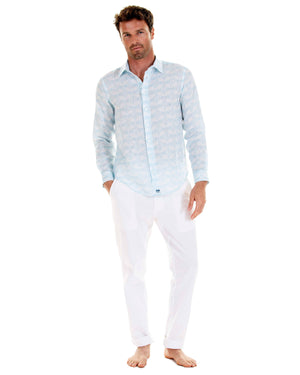 Linen shirt in Guava pale blue, designed by Lotty B Mustique beautiful linen Resort wear