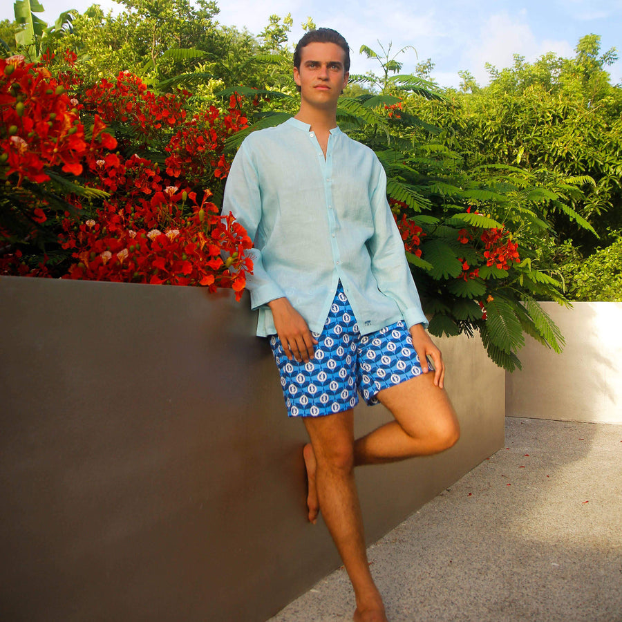 Mens designer swim wear Guava blue print by Lotty B Mustique swim style