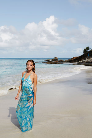 Long Silk Halter Dress: LEAVES - TURQUOISE