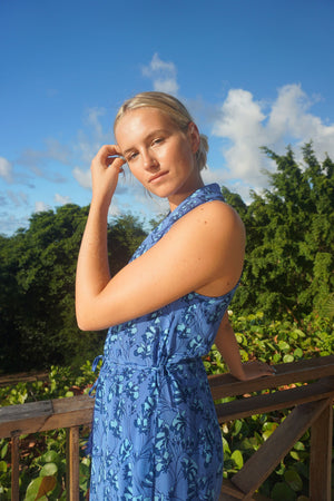 Silk Jemima Dress: FLAMBOYANT FLOWER - BLUE, designer Lotty B Mustique Caribbean tropical holiday styles