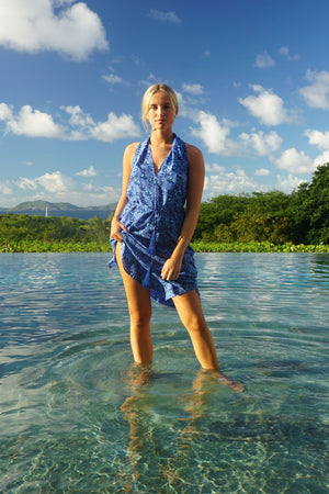 Silk Jemima Dress: FLAMBOYANT FLOWER - BLUE, designer Lotty B Mustique vacation fashion