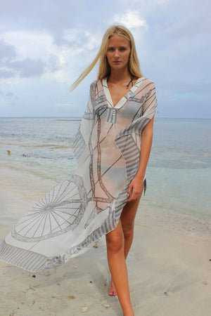 Lotty B Long Kaftan in Chiffon: BICYCLE - BLACK & WHITE walking on the beach Mustique