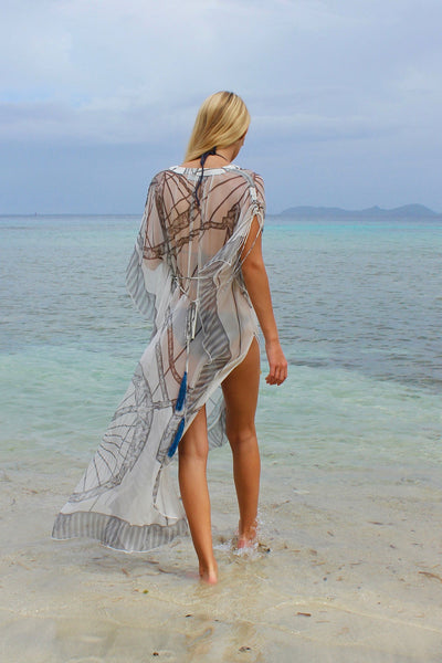 Lotty B Long Kaftan in Chiffon: BICYCLE - BLACK & WHITE back Mustique beach
