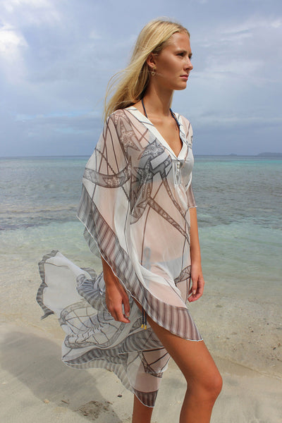 Lotty B Long Kaftan in Chiffon: BICYCLE - BLACK & WHITE side walking on the beach Mustique