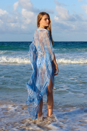 Lotty B Long Kaftan in Chiffon: PINEAPPLE - BLUE back Mustique beach