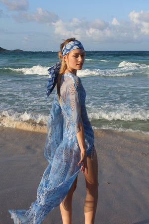 Lotty B Long Kaftan in Chiffon: PINEAPPLE - BLUE side Mustique bandana