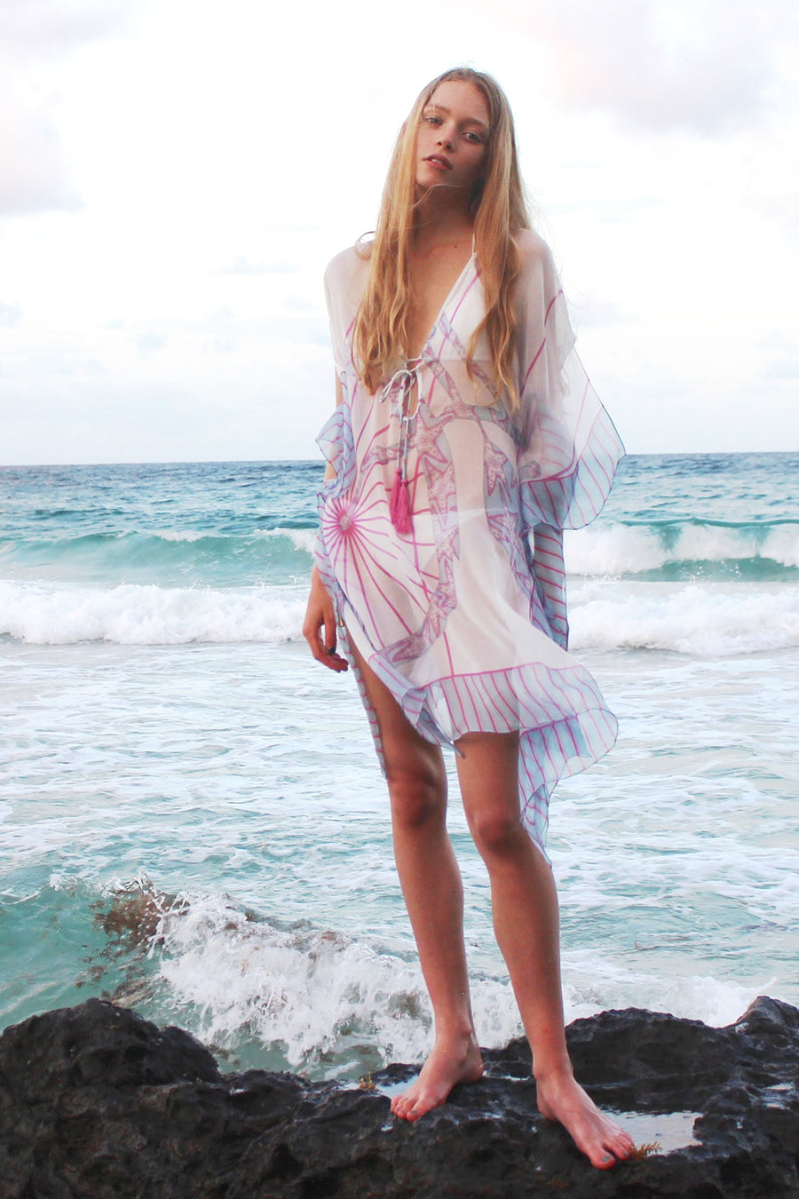 Lotty B Short Kaftan in Chiffon: BICYCLE - PINK Front Mustique beach