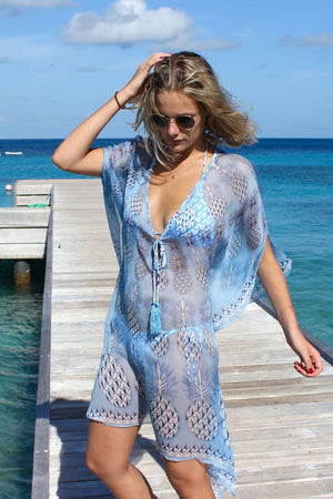 Lotty B Short Kaftan in Chiffon: PINEAPPLE - BLUE