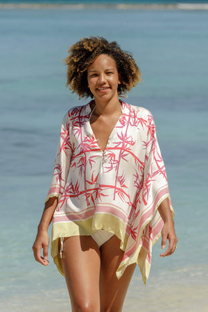 Pure silk kaftan top red and gold bamboo design by Lotty B Mustique luxury Resort wear