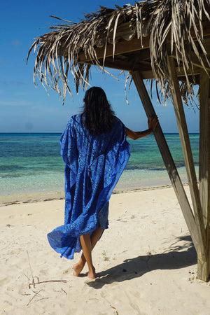 Silk Jenlee Kaftan: FLAMBOYANT FLOWER - BLUE beautiful vacation wear designer Lotty B Mustique