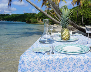 Lotty B Tablecloth & Napkin set: CACTUS - BLUE - Mustique life
