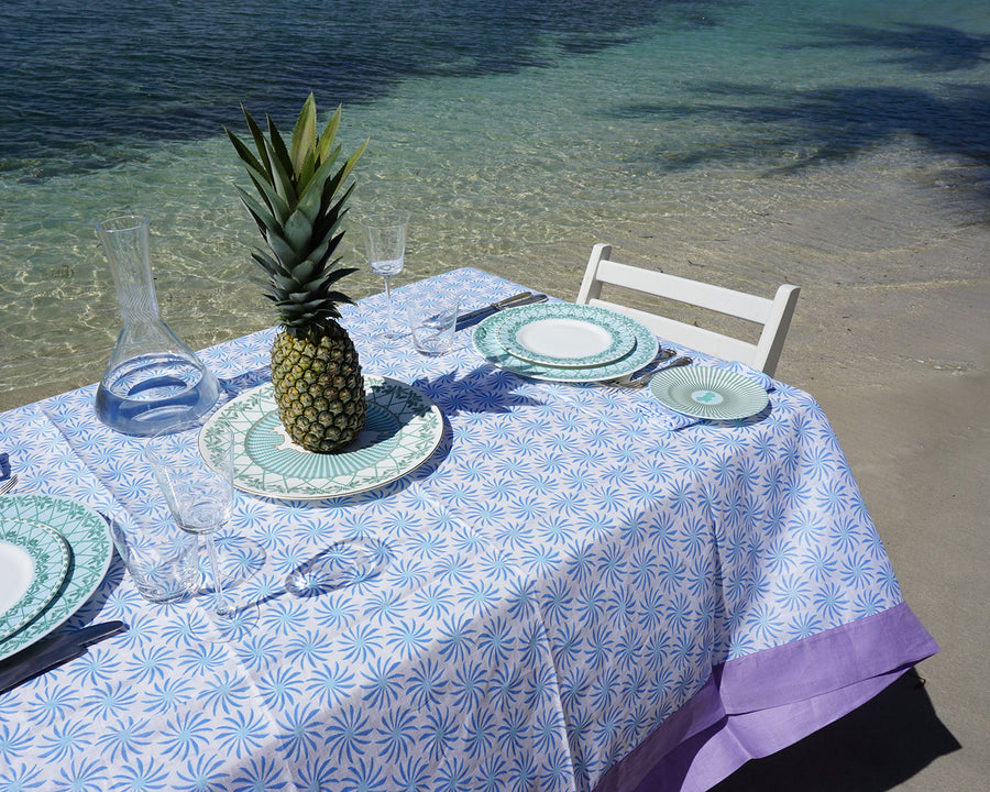 Lotty B Tablecloth & Napkin set: CACTUS - BLUE