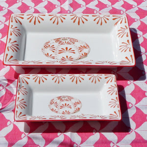 Fine Bone China Tray : URCHIN - RED designer Lotty B Mustique. These delightful pieces keep your jewellery, trinkets or loose change in style.