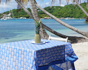 Lotty B Tablecloth & Napkin set: PINEAPPLE - BLUE - Mustique beach