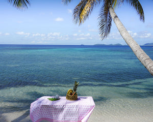 Lotty B Tablecloth & Napkin set: SEASTAR - PINK - Mustique life