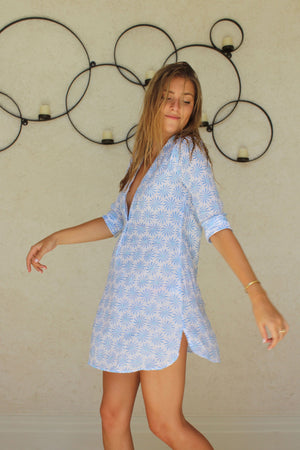 Womens Linen Flared Dress: CACTUS blue designer Lotty B for Pink House Mustique