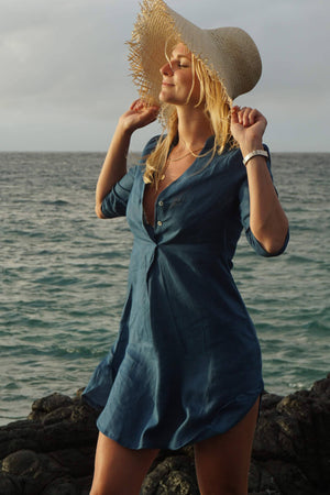 Pure linen Decima dress by Lotty B in Ensign Blue for Pink House Mustique vacation style