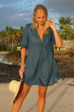 Pure linen Decima dress by Lotty B in Ensign Blue for Pink House Mustique luxury resortwear fashion