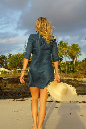 Pure linen Decima dress by Lotty B in Ensign Blue for Pink House Mustique resort wear