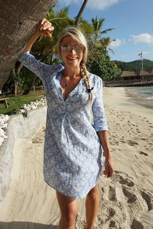 Womens Linen Flared Dress: PAPAYA - BLUE, Mustique holiday dress