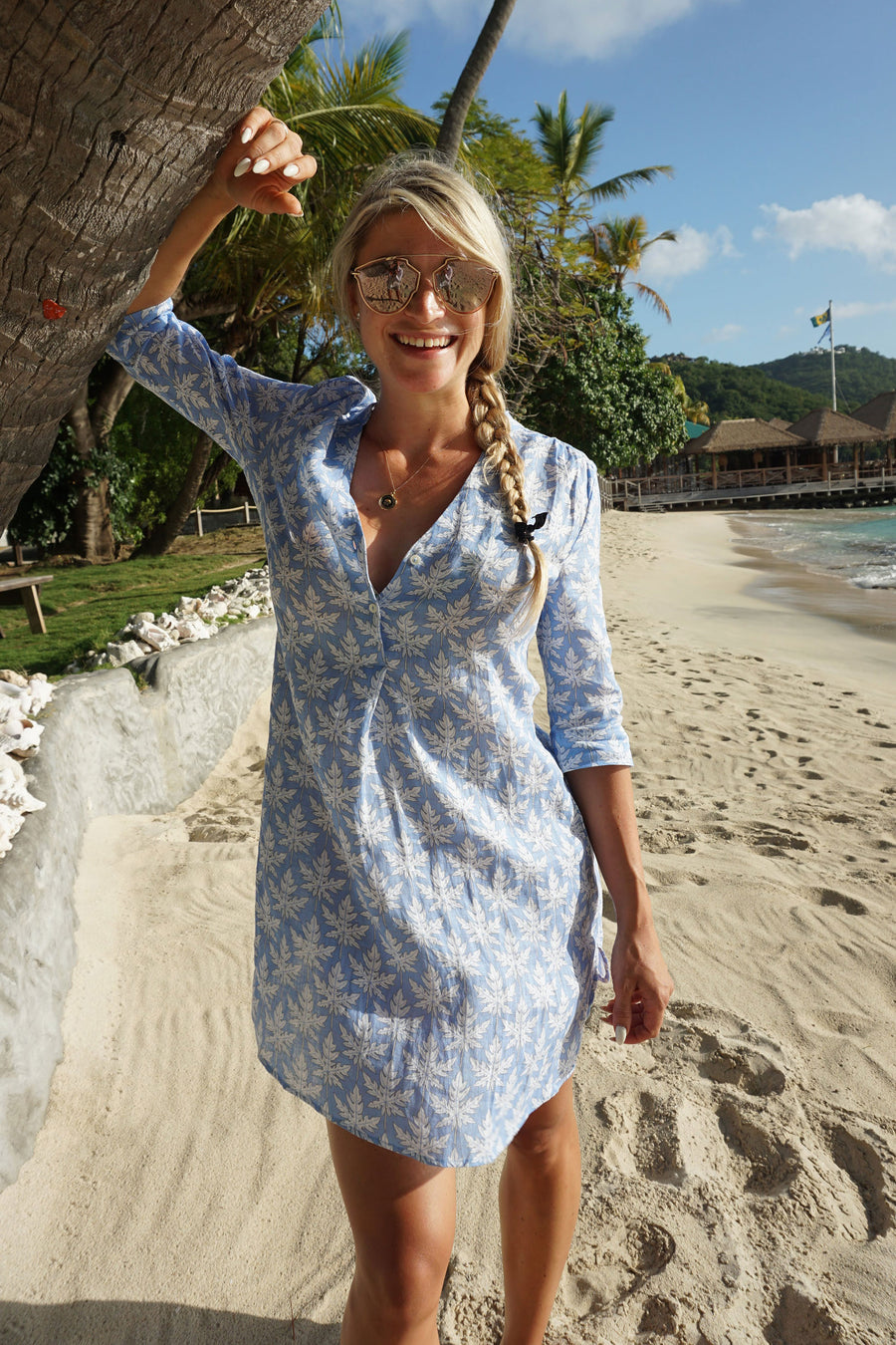 Womens Linen Flared Dress: PAPAYA - BLUE Mustique beach style