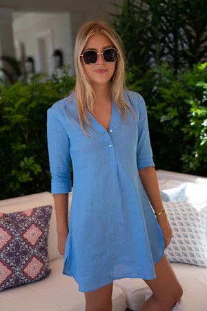Womens Linen Flared Dress: FRENCH BLUE Mustique life