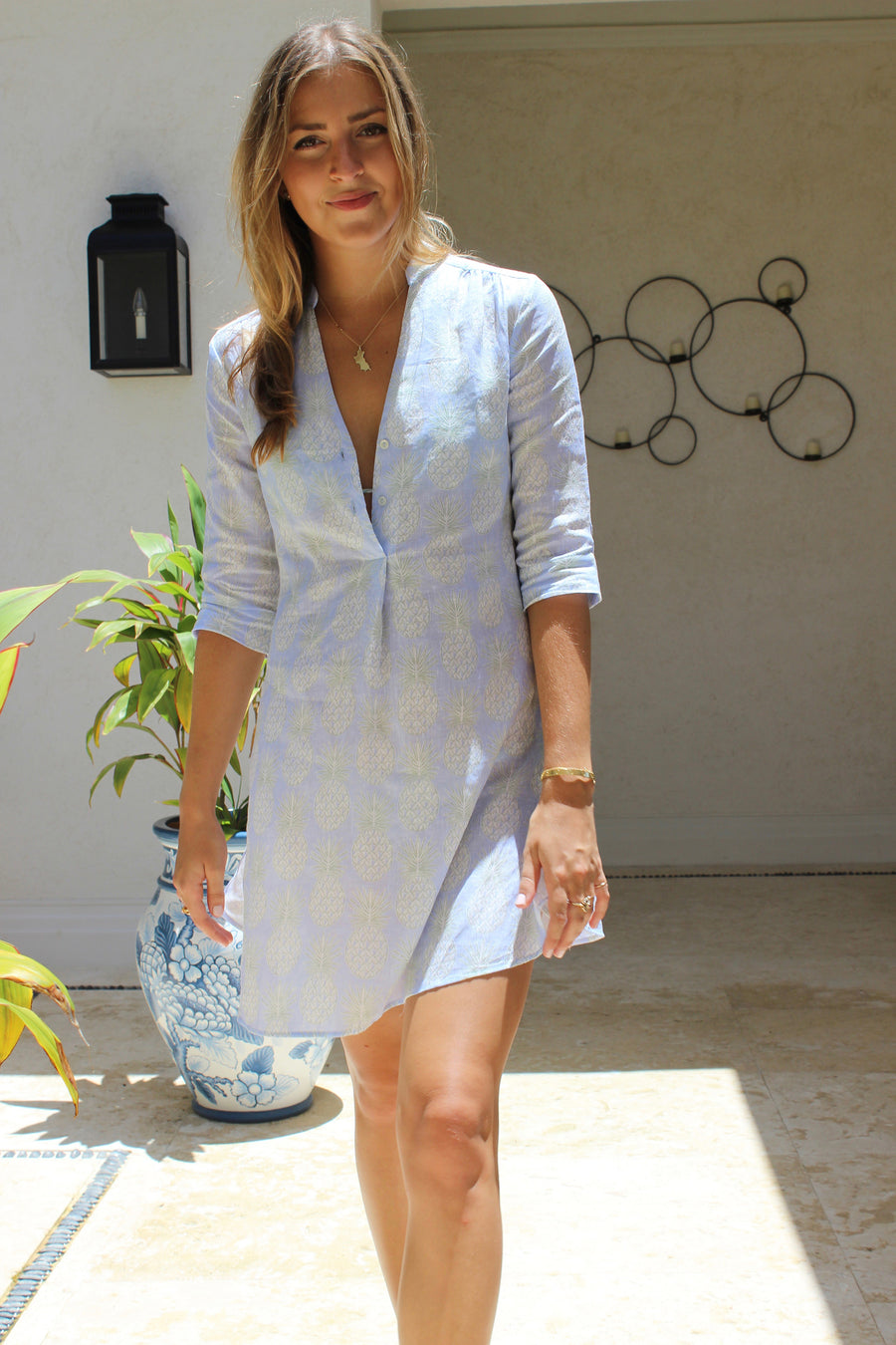 Linen Decima Dress by Lotty B in Pineapple olive print, Mustique holiday style