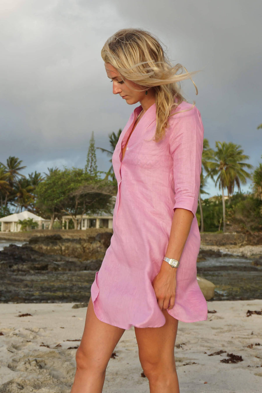 Linen Decima Dress: FUCHSIA PINK