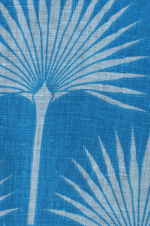 FAN PALM - PALE BLUE / MID BLUE Linen swatch detail