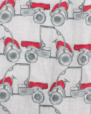 Mens Linen Shirt : MUSTIQUE MULE - RED print detail