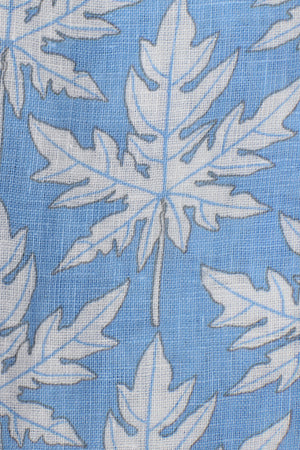 Womens Linen Flared Dress: PAPAYA - BLUE print detail