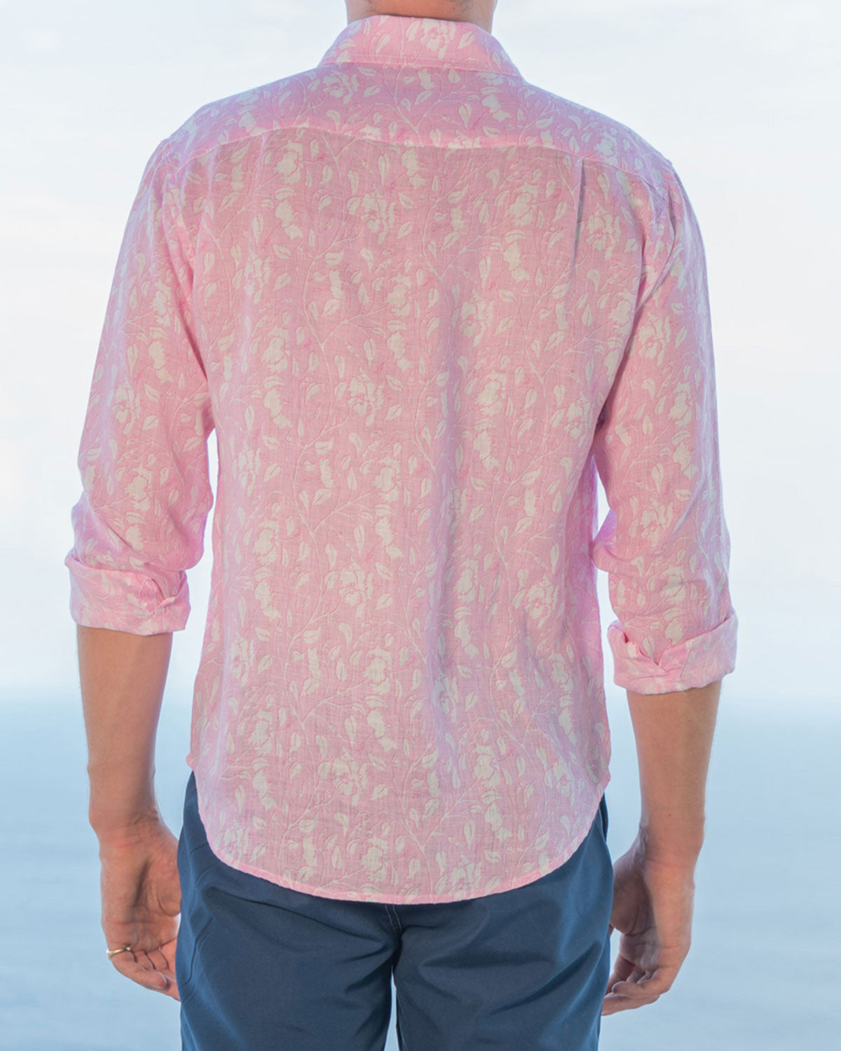 Mens Linen Shirt (Hibiscus, Pink) Back