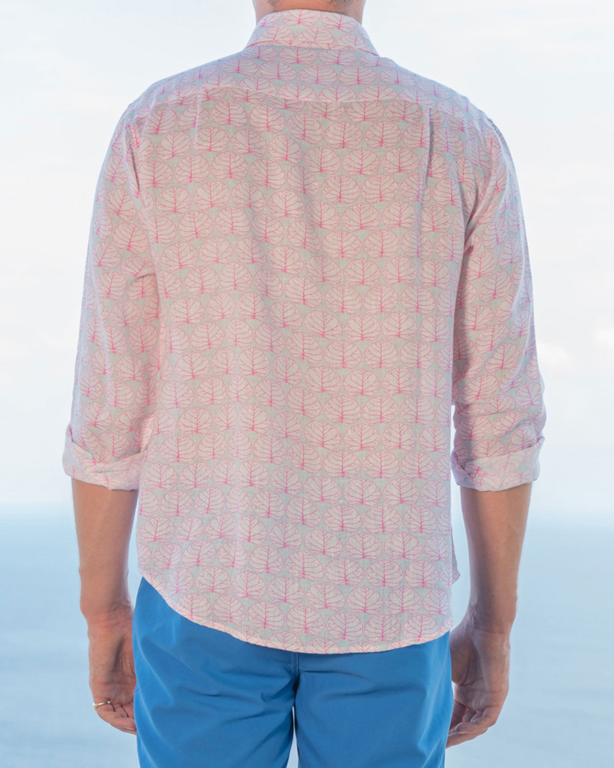 Mens Linen Shirt (Seagrape, Blue/Pink) Back
