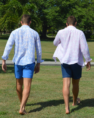 Mens Linen Shirt (Seahorse, Blue) Mustique twins