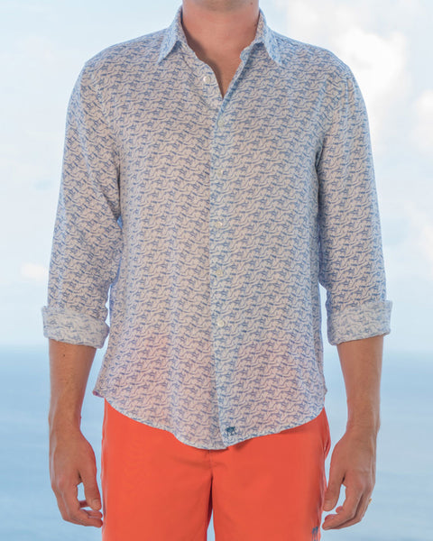 Mens Linen Shirt (Shark, Navy) Front
