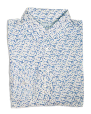 Mens Linen Shirt (Shark, Navy)