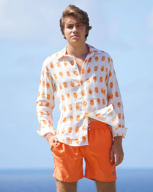 Mens Linen Shirt: BEETLE - ORANGE