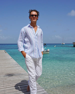 Mens Linen Shirt : M PALM STRIPE Navy, pontoon Mustique