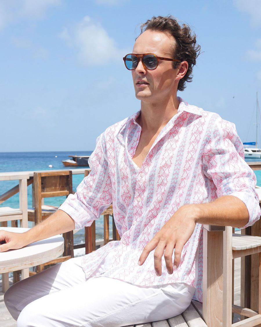 Mens Linen Shirt : M PALM STRIPE RED