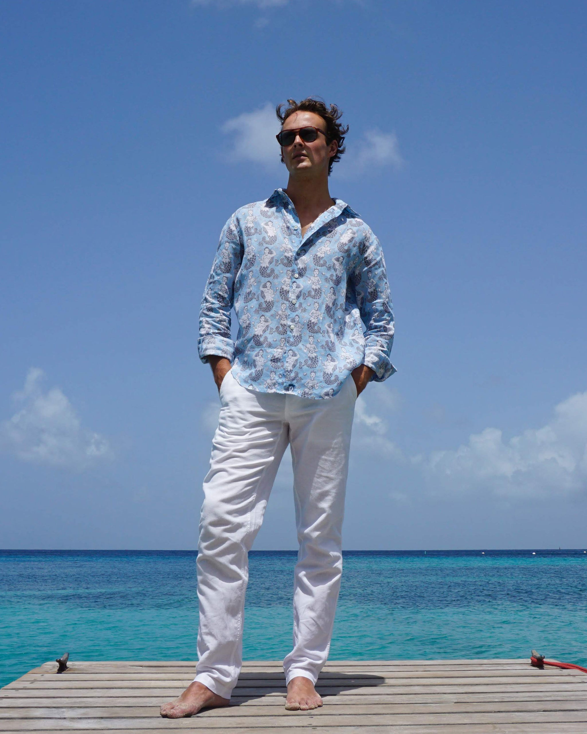 942d3f2a94 Mens Linen Shirt : MERMAID GREY / PALE BLUE easy to wear holiday shirts