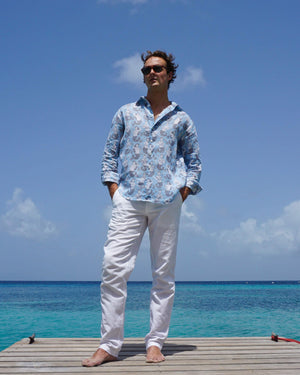 Mens Linen Shirt : MERMAID GREY / PALE BLUE easy to wear holiday shirts