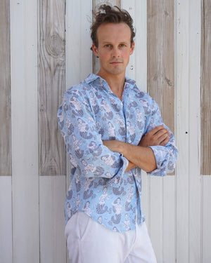 Mens Linen Shirt : MERMAID GREY / PALE BLUE Mustique Caribbean beach style