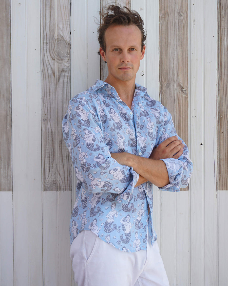 Mens Linen Shirt : MERMAID GREY / PALE BLUE