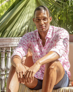 Mens Linen Shirt ~ Monkey (Pink) Mustique life