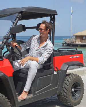 Mens Linen Shirt : MUSTIQUE MULE - MULTI Mustique life driving a mule