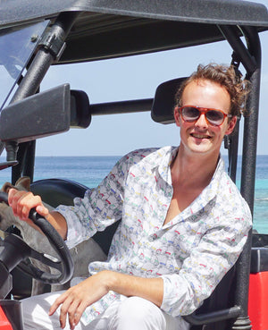Mens Linen Shirt : MUSTIQUE MULE - MULTI driving a mule, Mustique lifestyle