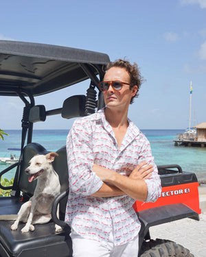 Mens Linen Shirt : MUSTIQUE MULE - RED Mustique Mules are the smart way to get around on island