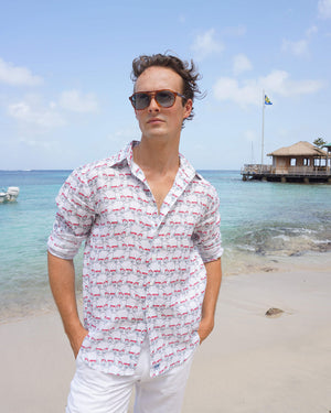 Mens Linen Shirt : MUSTIQUE MULE - RED Mustique beach style at Basils Bar