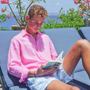 Childrens Linen Shirt: HOT PINK reading a book in the garden Mustique